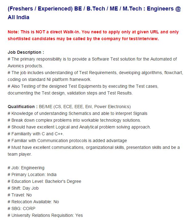 HoneyWell is recruiting Engineers (Freshers/Experienced