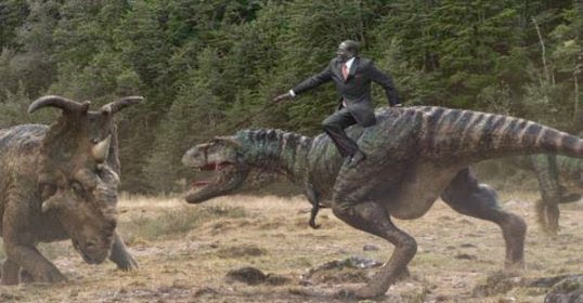 Mugabe takes on dinosaurs with his fall on Trex via geniushowto.blogspot.com #MugabeFalls memes