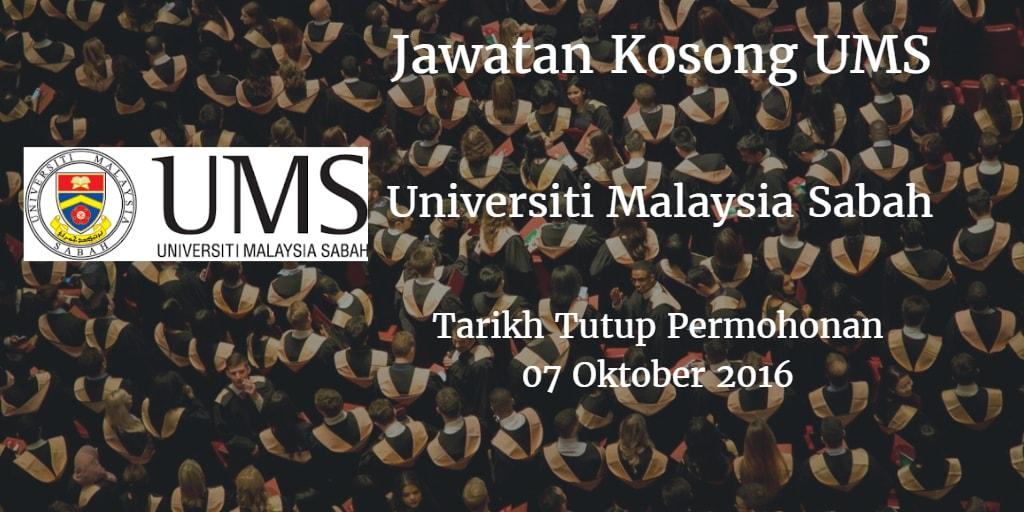 Jawatan Kosong UMS 07 Oktober 2016