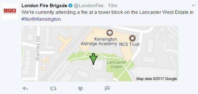 A huge fire has broken out on Wednesday morning at a tower block on the Lancaster West Estate in North Kensington of London, UK,