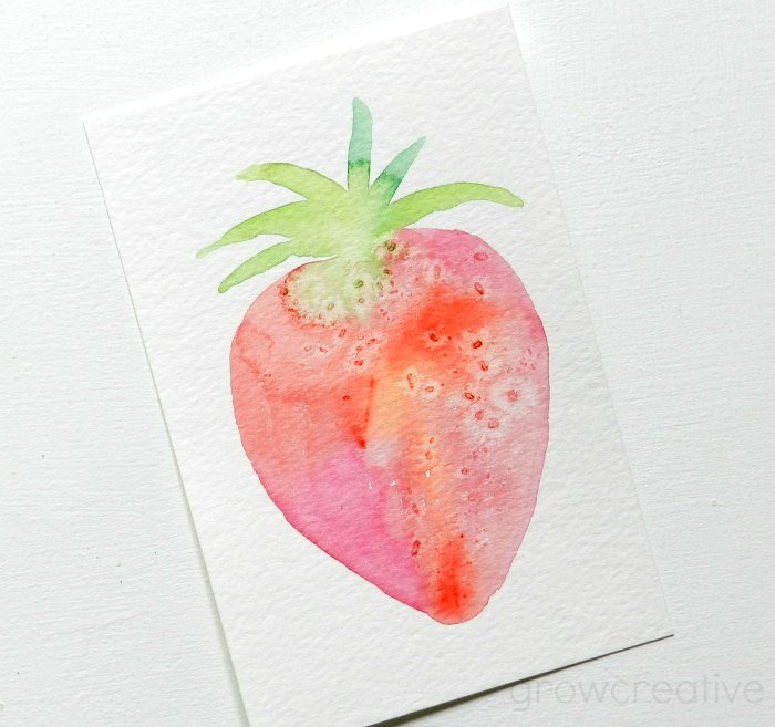 Watercolor Strawberry: Grow Creative