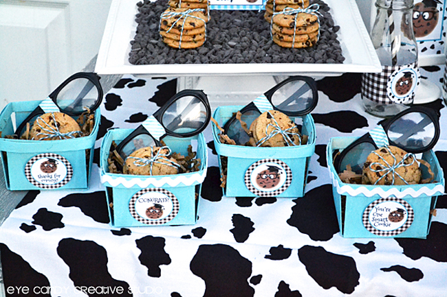 party ideas for graduation party, milk and cookies, grad cap, berry baskets with cookies