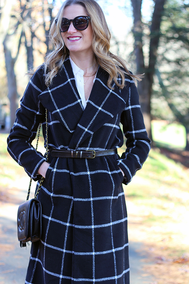 Windowpane Long Coat