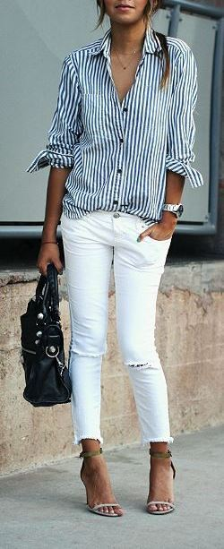stylish outfit: shirt + skinnies + bag