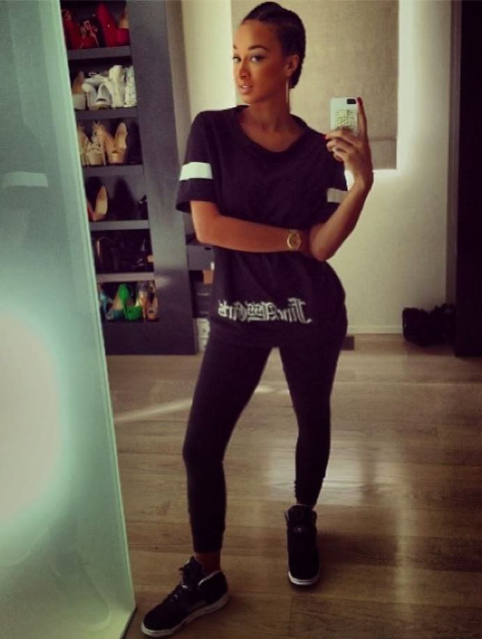 877d8e56e13fbe Celeb Sneaker Game  Draya Wearing Air Jordan Oreo 5 Sneakers