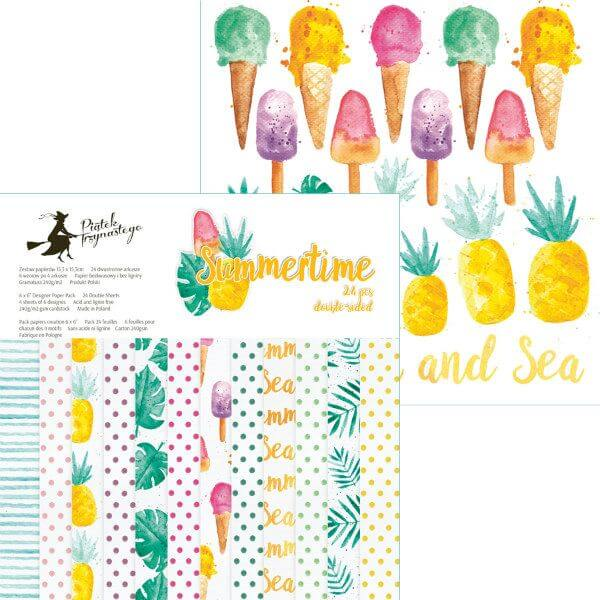 summertime-themed set of scrapbooking papers