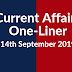 Current Affairs One-Liner: 14th September 2019