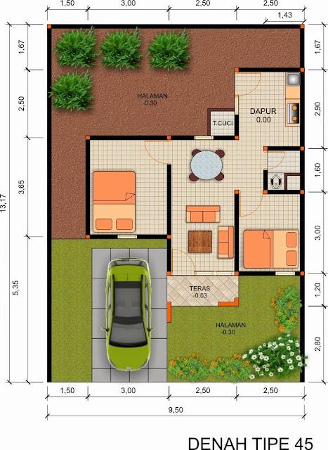 Denah Rumah Type 45 Dan Skala