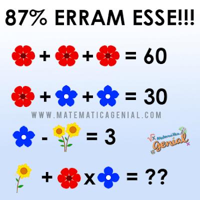 Desafio das flores, quanto vale cada uma?