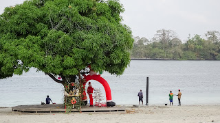 Huge tree with santa clause in Equatorial Guinea