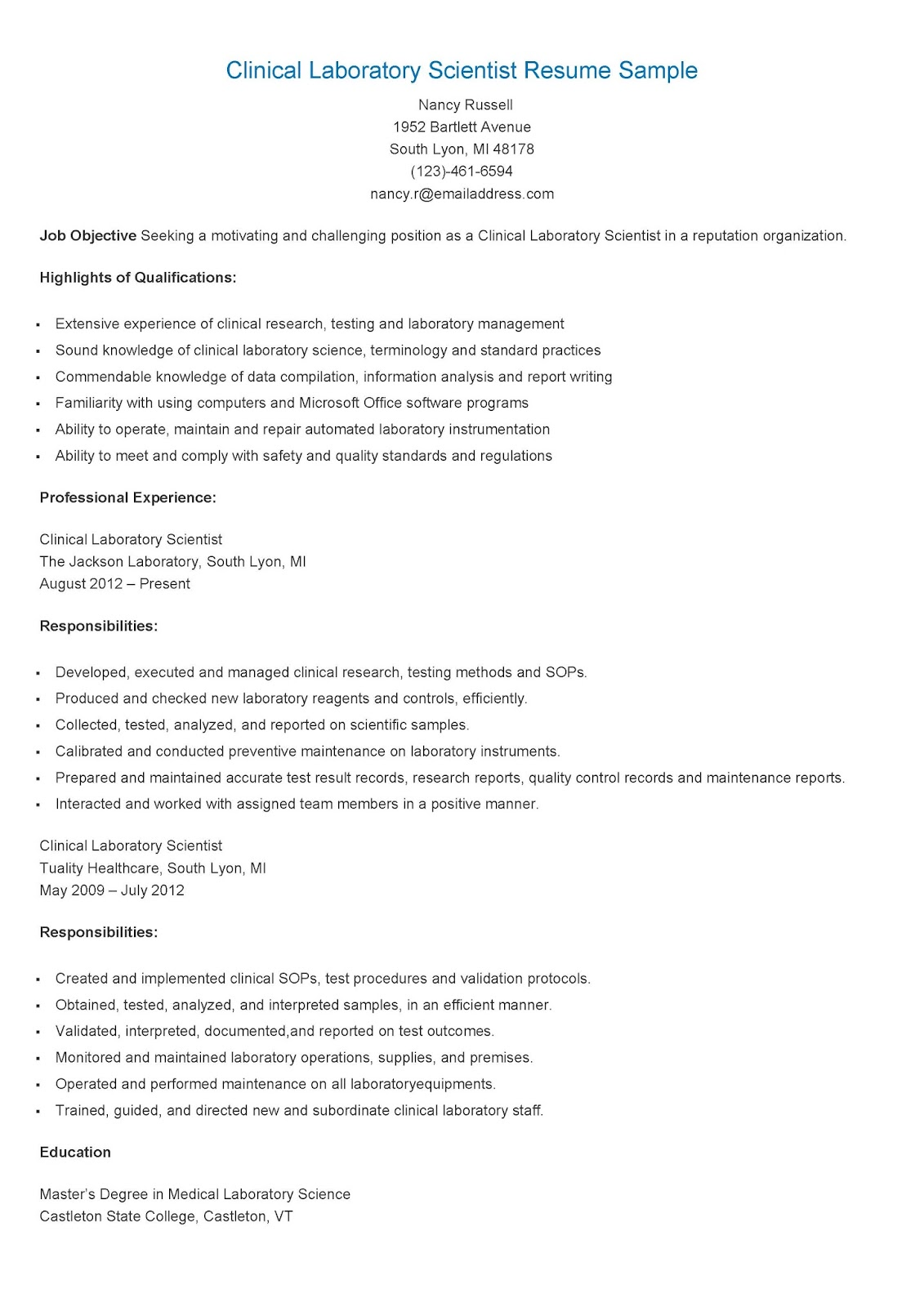 sample resume medical laboratory scientist