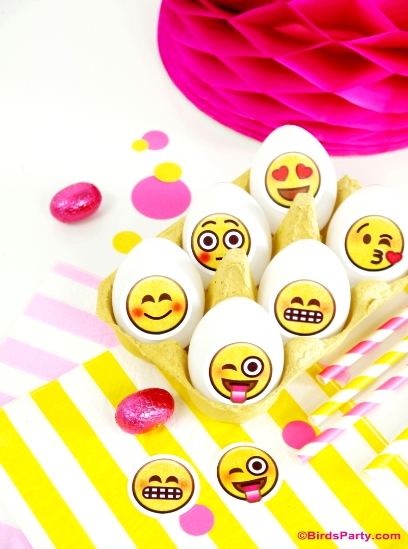 Emoji DIY Easter Party Eggs with Printables - BirdsParty.com