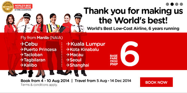 AirAsia P6 Promo Fair Bookings from August 4 - 10, 2014