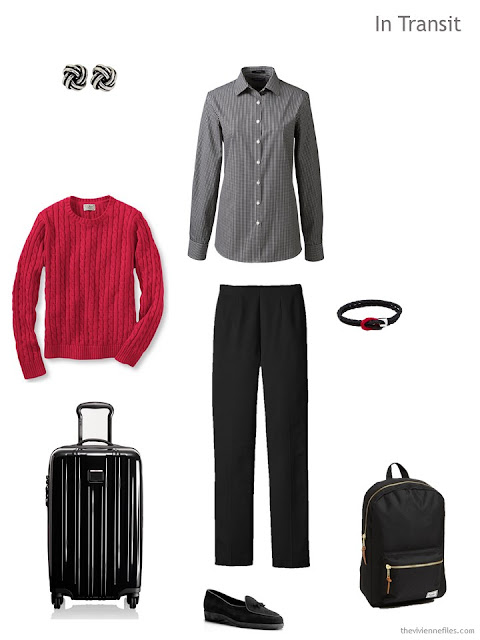 spring travel outfit in black, white and red
