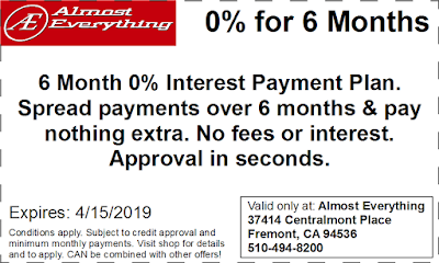 Coupon 6 Month Interest Free Payment Plan March 2019