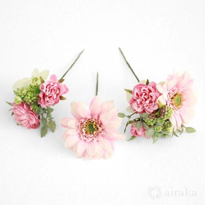 ガーベラの髪飾り(ピンク)-ウェディングブーケと花髪飾りairaka