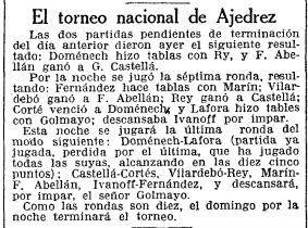 Recorte de La Vanguardia sobre el Torneo Nacional de Ajedrez Barcelona 1926, 1/10/1926