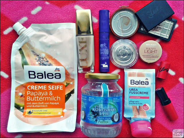 Balea urea, Essence highlighter, Avon luxe puder, Bourjois korektor, Rimmel karmin, Essence maskara