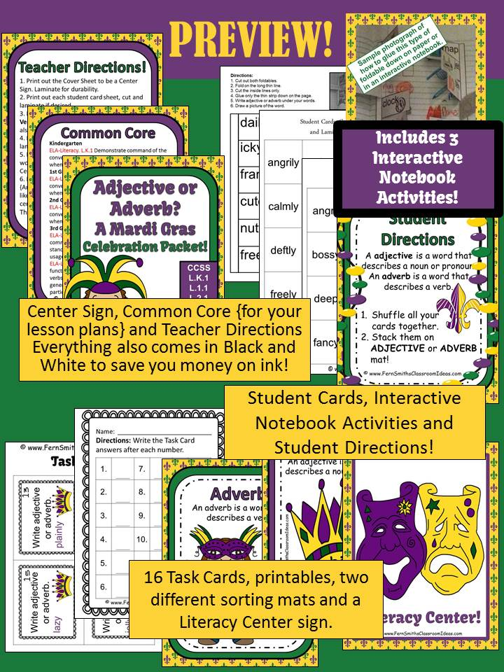Fern Smith's Classroom Ideas Adjective or Adverb? A Mardi Gras Celebration Packet