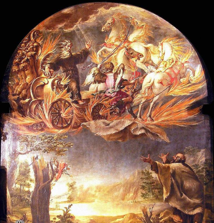 Santo Elias raptado num carro de fogo diante de Santo Eliseu.  Juan de Valdés Leal  (1622 - 1690), igreja de Nossa Senhora do Carmo, Córdoba, Espanha.