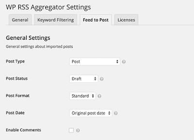 Feed to post settings