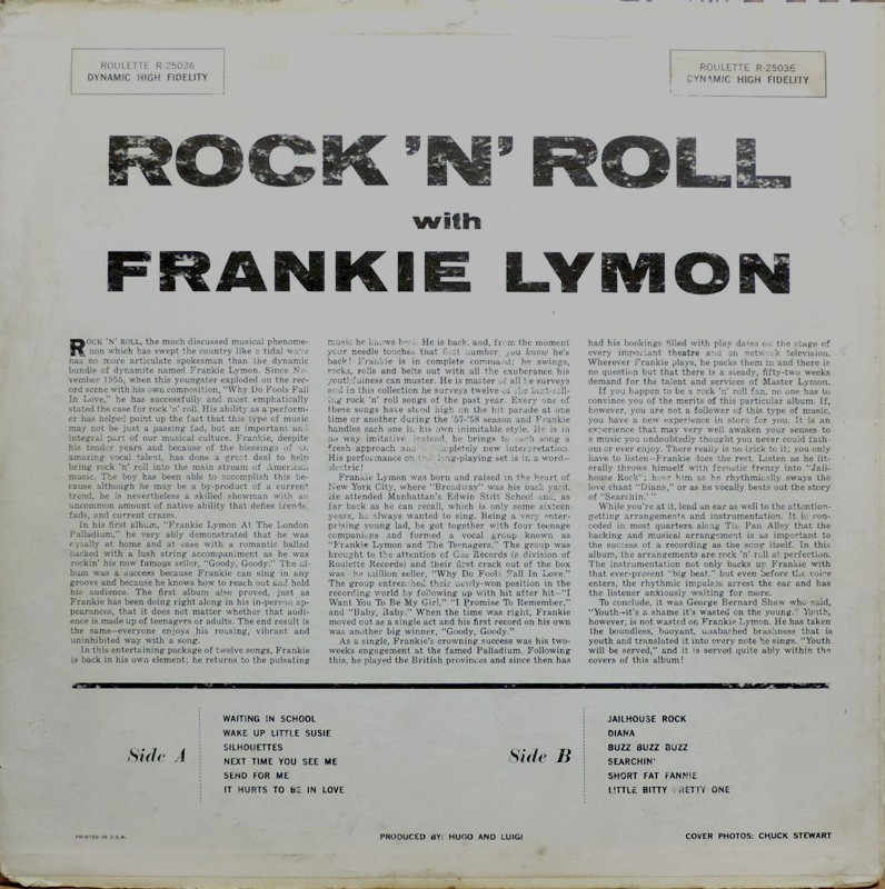 Rien Que Des Vinyls Frankie Lymon 1958 Us Roulette R 25036