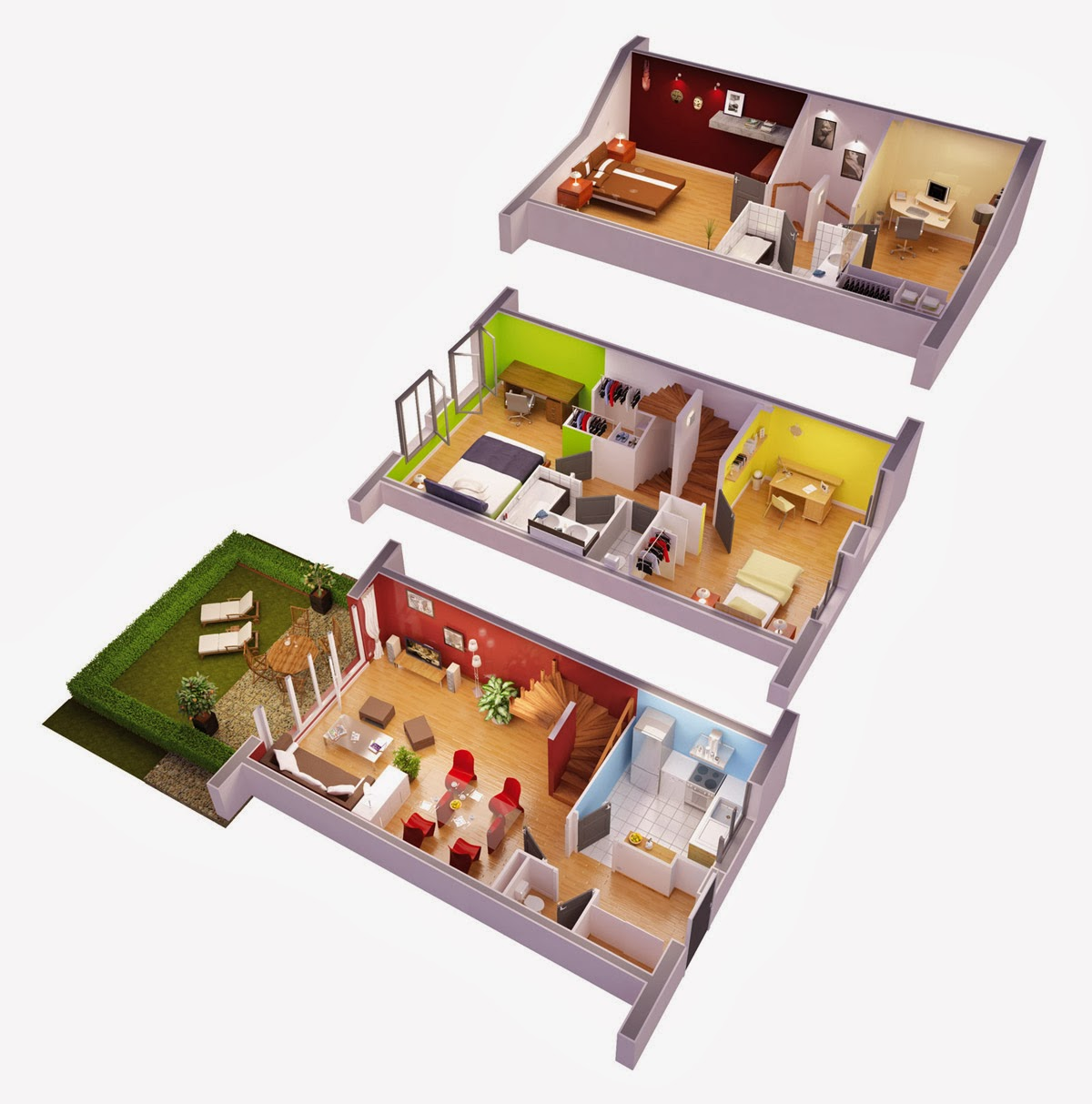 3d villa plans - Plan de maison 3d ...