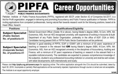 Pakistan Institute of Public finance Accounts PIPFA Jobs 2019