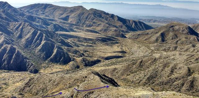 Valle, cerro, sierras, quebrada corral viejo, san juan, trekking