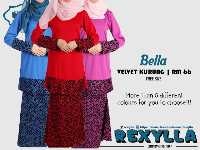 rexylla, velvet kurung, kurung baldu, bella collection