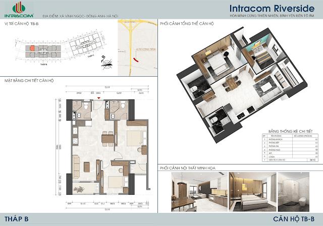 Thiết kế căn hộ B 64m2 dự án Intracom Riverside Nhật Tân Đông Anh