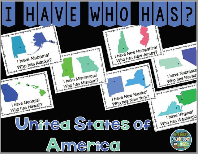 This set of I Have, Who Has? United States of America has 100 cards total! This resource has 50 Cards with Colorful States Clip Art in Alphabetical Order, 50 Cards with Colorful States Clip Art in Mixed Order, 2 Sets of Teacher Answer Keys and 1 Teacher Direction Sheet! One-Hundred I Have, Who Has? United States of America Task Cards, Teacher Directions and a Teacher Answer Key by Fern Smith's Classroom Ideas Available for You and Your Students at TeachersPayTeachers.
