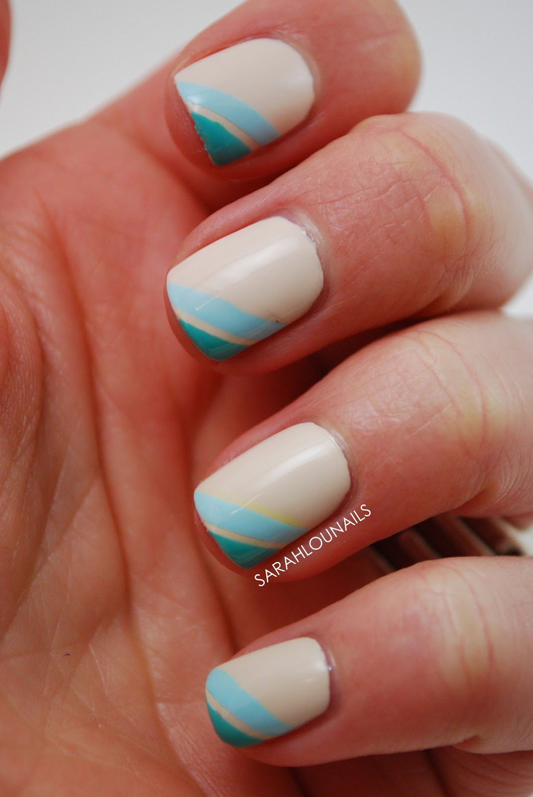 Ombre Nail Trend: Sarah Lou Nails: Nude & Blue Ombre Nails