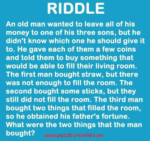 Which 2 things can fill the room riddle ?