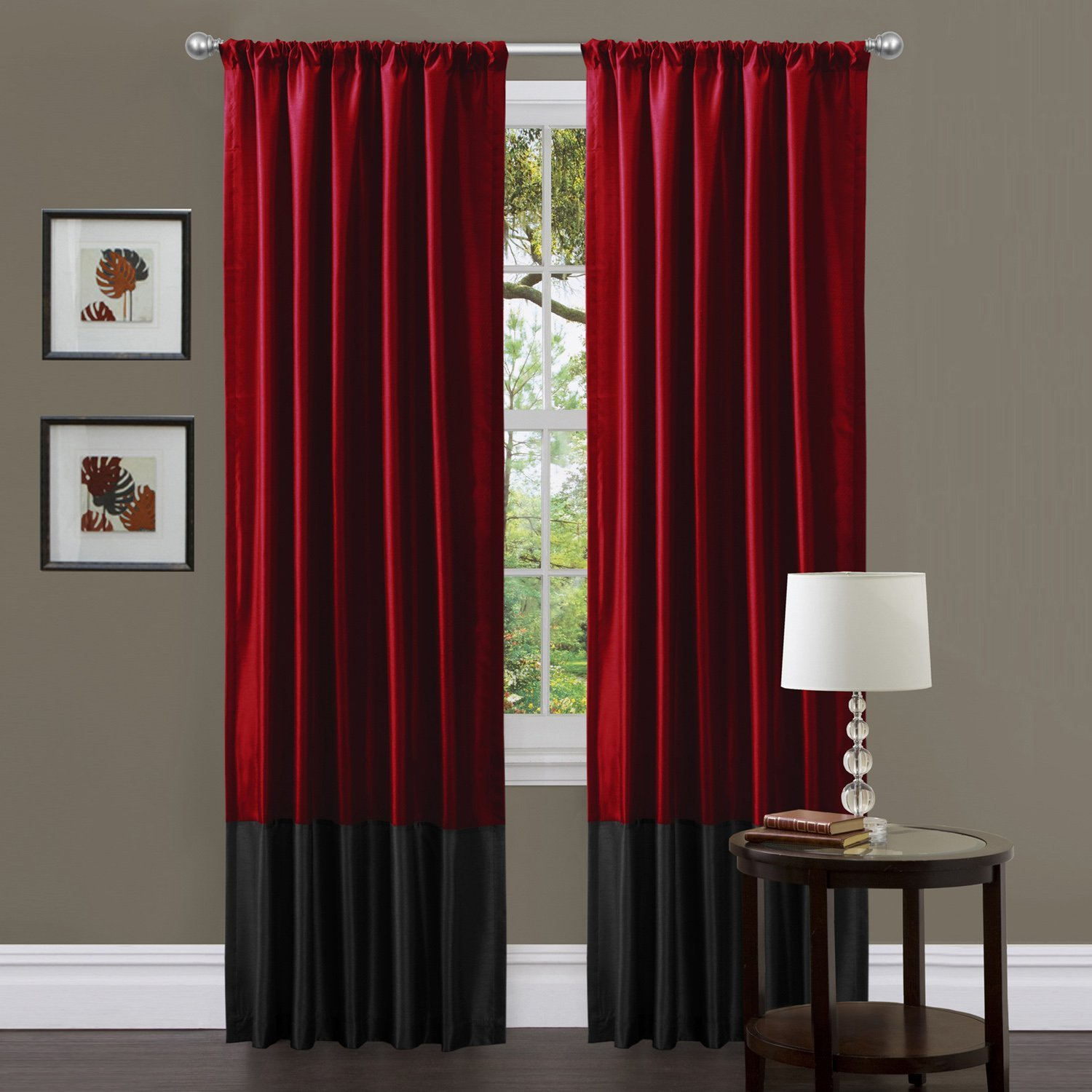 black and red curtains with black borders