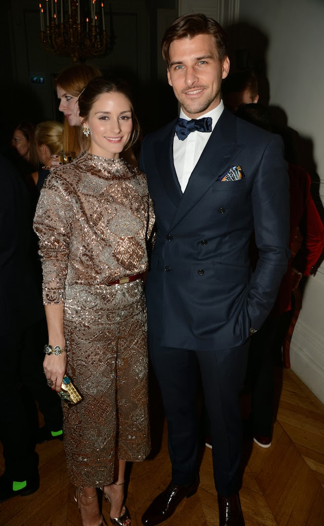 Olivia Palermo with Johannes Huebl at the Porter Magazine party
