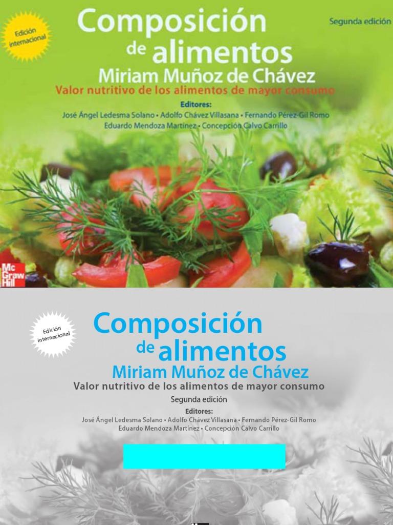Composición de alimentos: Valor nutritivo de los alimentos de mayor consumo, 2da. Edición – Miriam Muñoz de Chávez
