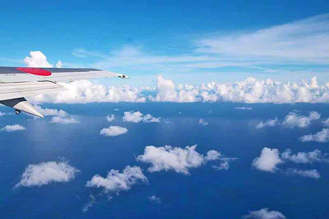 JAL flight in skies over Okinawa