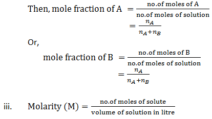MOLE FRACTION AND MOLARITY