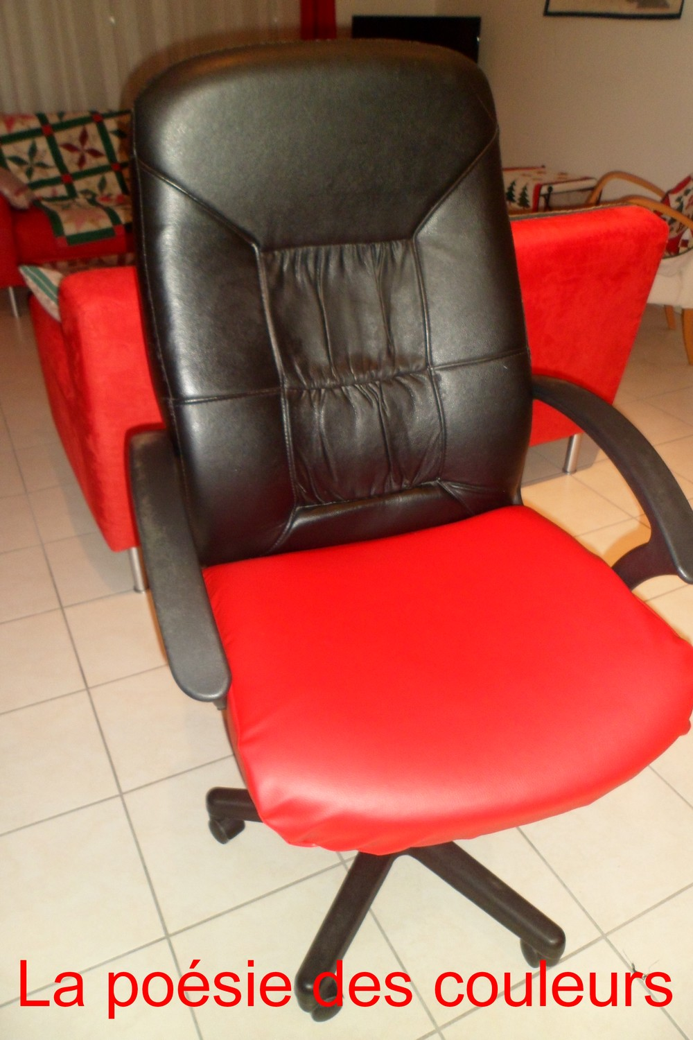 la po sie des couleurs relooking de mon fauteuil de bureau. Black Bedroom Furniture Sets. Home Design Ideas