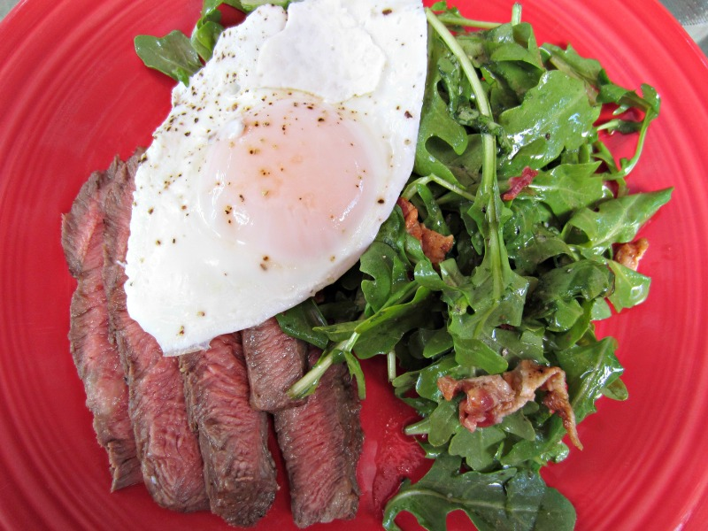 Flat Iron Steak with Egg and Arugula Salad