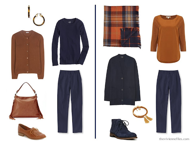Capsule wardrobe colour palette inspiration - a dash of cinnamon with navy