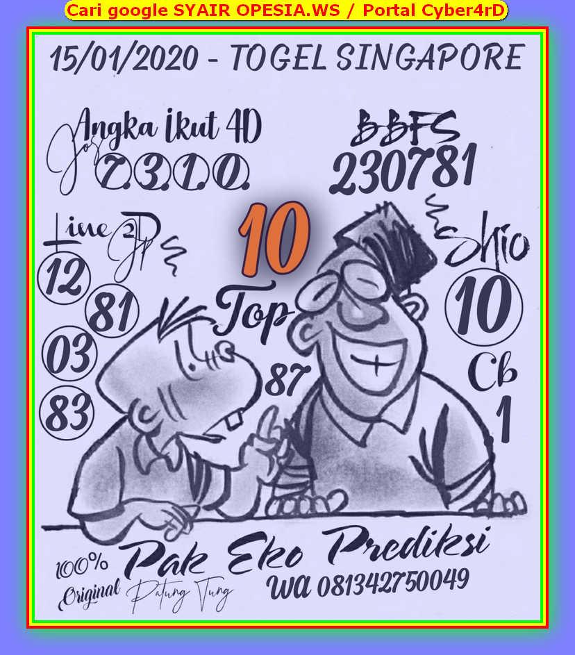 Kode syair Singapore Rabu 15 Januari 2020 12
