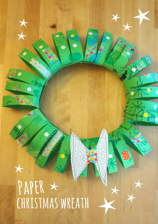 3D Paper Tube Christmas Wreath- easy and unique kids Christmas craft