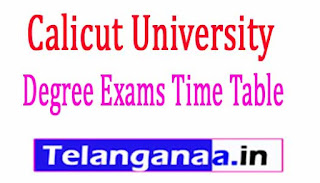 Calicut University Degree Exams Time Table 2017