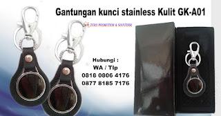 Souvenir Kantor gantungan kunci stainless Kulit GK-A01
