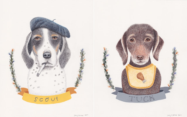 colored pencil portraits of Scout and Tuck