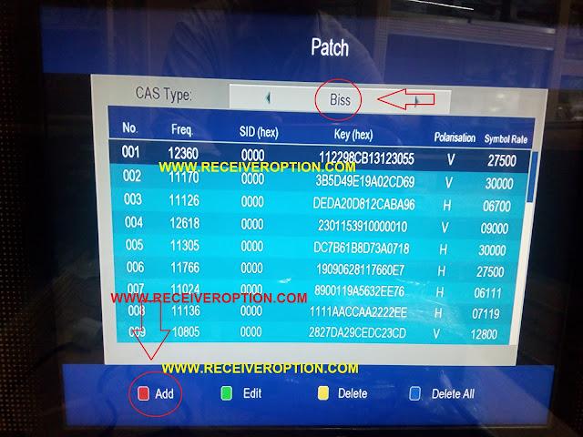 NEOSIT 8120 JADOO TV HD RECEIVER BISS KEY OPTION