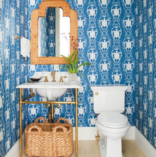 Sea Turtle Wallpaper Blue White