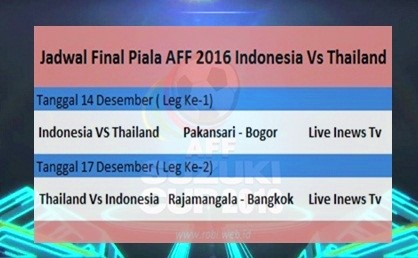 jadwal final piala aff 2016 Indonesia vs Thailand